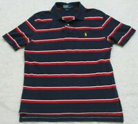 Ralph Lauren Polo Shirt Navy Blue Red & White Top Cotton Size Large Striped Mens