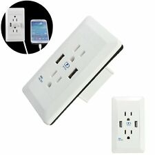 Dual USB Electric Adapter Dual Plug Wall Socket Outlet Power Charger