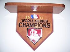 Bobble heads Cardinals 2011 World Series display shelf   Stained Cherry