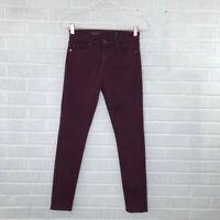 AG Adriano Goldschmied Size 25 Jeans Farrah High Rise Skinny in Wine Red Pants