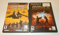 PlayStation 2 PS2 Star Wars Clone Wars & Episode III Revenge Of The Sith Lot