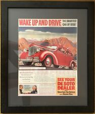 1938 Vintage Automobile Ad Desoto Actress Alice Faye Driving Beautiful Framed