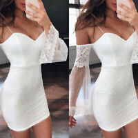 Women Off Shoulder Lace Mesh Bodycon Mini Dress Party Evening Club Wedding Dress