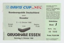 Orig.Ticket   Tennis Davis Cup 1986  DEUTSCHLAND - ECUADOR  //  05.10. !! SELTEN
