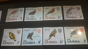 Gambia 1966 Birds Set to 1/- Mounted Mint Condition.