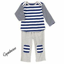 NWT Gymboree Striped Navy Gray 2 Piece Outfit Brand New Baby Basics Newborn Boys