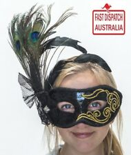 Masquerade Mask Ladies Black & Gold peacock feather mask... simply stunnig