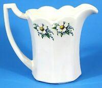 "McCoy USA Pitcher Vintage Lancaster Colony Pottery White Blue Floral 5.75""  EUC"