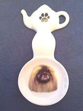 Pekingese Dog New Handmade Ceramic Porcelain Tea Bag Holder Spoon Rest