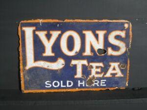 45973 Old Vintage Antique Enamel Sign Shop Advert Box Packet Lyons Tea