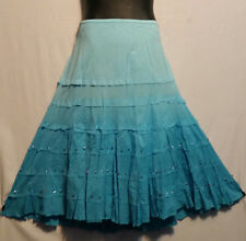 Women Clothing Eastic Waist Long Skirt Tie Dye Skirt Sequins Size 3X Terquoise