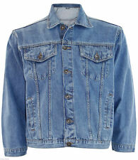 Men's True Face Branded Loose Fit Cotton Summer Casual Denim Jacket Stone Wash M