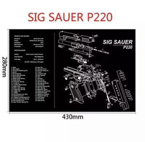 Gun Cleaning Mat Rubber Back High Quality - Sig Sauer P220 (Brand New)