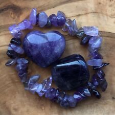 Amethyst Heart Gem Chip Bracelet Tumblestone Set Calmant Méditation confiance