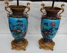 Paire de lampes cloisonnées japon aux oiseaux et dragons 1890'
