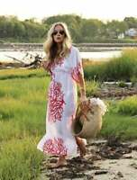 NWT Talbots Med M Sheer Coral Print Swim Cover Up Maxi Dress Caftan Kaftan