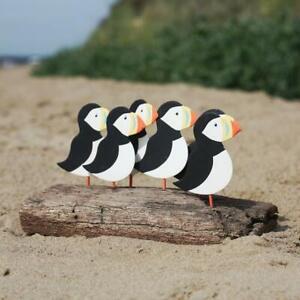 Flock of Puffins on Driftwood | Coastal Ornament by Shoeless Joe