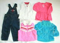 EUC Girls 2T Lot Fall Winter Clothes Overalls Fleece Vest Carters Pink Jacket