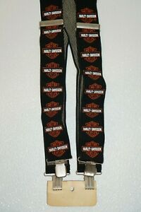 Authentic Harley Davidson Motorcycles Black Logo Suspenders
