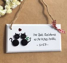 1st Christmas as Mr and Mrs decoration Personalised First Christmas Cat Gift