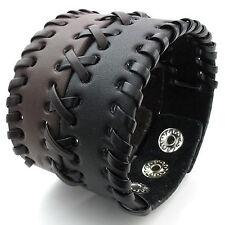 MENDINO Men's Women's Leather Bracelet Braided Wide Cuff Bangle Punk Brown Black