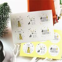 60pcs Round Christmas Golden Bear Deer Label Sticker Packaging Sealing DIY Gift