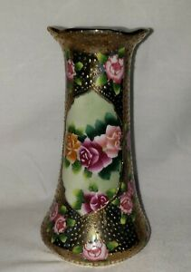 Antique Nippon Hatpin Holder  Moriage Gold Gilt Beadwork Hand Painted Roses