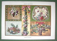 BAROQUE GOBELINS Fruit Baskets FLowers Louis XV Style - 1880s Color Litho Print