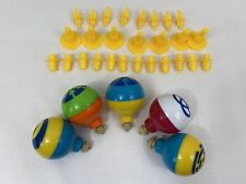 Lot 5 Duncan Toys Wizzzer Spinning  Tops 1996 + Accessory Pieces