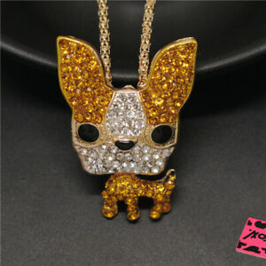 New Betsey Johnson Cute Yellow Puppy Dog Crystal Animal Pendant Chain Necklace