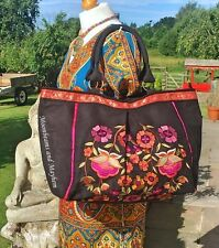 LARGE NEW BLACK NAMASTE TOTE SHOULDER BAG BOHO HIPPIE HANDBAG HOLDALL GYPSY