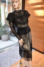 Lim'S Vintage All Hand Made Hand Crochet Top & Skirt Set M Black M