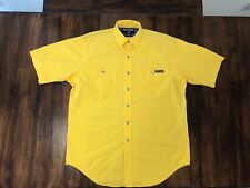 90s Vintage Polo Sport Ralph Lauren Yellow Work Shirt Button Up Mens M
