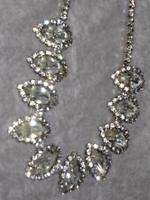 Vintage Jewelry 15.5 '' Lonf Clear Rhinestones Necklace Rare