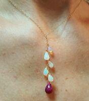 Ruby briolette Ethiopian Fire Opal drop necklace pendant 14k 14kt gold lariat