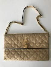 Authentic Marc Jacobs Large Quilted Gold  Clutch Bag Handbag Chain