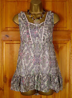NEW GORGEOUS M&S CREAM LILAC PINK GREEN PAISLEY TUNIC & CAMI TOP TWINSET UK 8