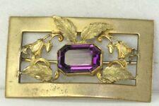 Large Victorian Antique Purple Glass Sash Pin