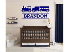 """Train Monogram Name Decal for Boys or Childs Room Vinyl Wall Decal 48"""" x 22"""""""