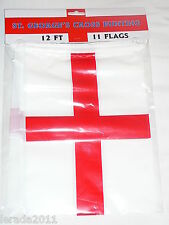 ST GEORGE'S CROSS FLAG ENGLAND BUNTING 11 FLAGS  12 FOOT DECORATION GEORGE CROSS