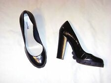POLLINI  black textured leather shoe   Size 6 1/2   Euro 37