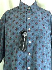NWT Vintage Kennington Geometric Print S/S Button Front Shirt Peach Valentino XL