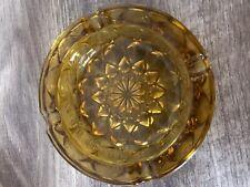 "Vintage Amber Heavy Glass Ashtray 6"""