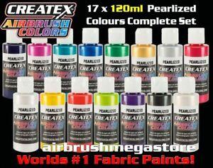 Createx Airbrush Colors 120ml Pearl 17 Colour Set + Free Insured Post