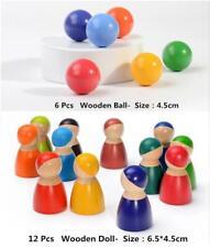 12pcs Doll+6pcs ball Wooden Rainbow Building Blocks DIY Educational Toys for kid