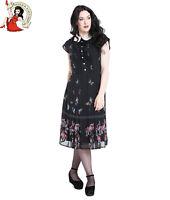 HELL BUNNY BUTTERFLY CHIFFON DRESS floral 40s VINTAGE style tea BLACK XS-4XL