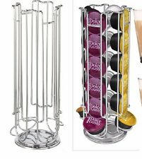 REVOLVING 24 DOLCE GUSTO/40 NESPRESSO COFFEE POD STAND HOLDER + 4 LATTE GLASSES