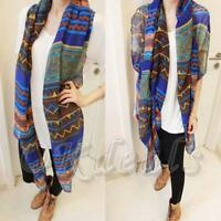 Soft Lady Cotton  Long Voile Scarf  Blue Print Wrap Vintage Shawl Stole