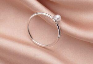 Women Adjustable 925 sterling silver Dainty Pearl Adjust Open Ring Size 5.75