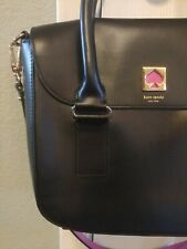 KATE SPADE Black Leather Pink Heart Shoulder Hand Bag Purse Strap Handles